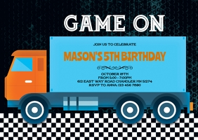 Truck game birthday invitation
