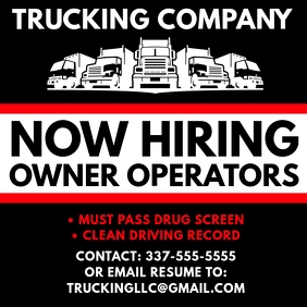 TRUCKING COMPANY NOW HIRING FLYER TEMPLATE