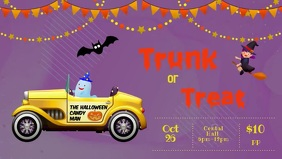 Trunk or treat Facebook cover purple template