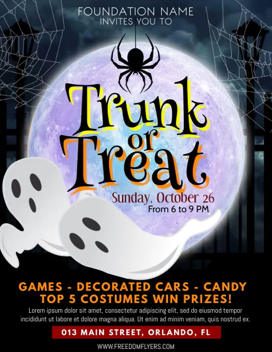 Trunk OR Treat flyer Løbeseddel (US Letter) template