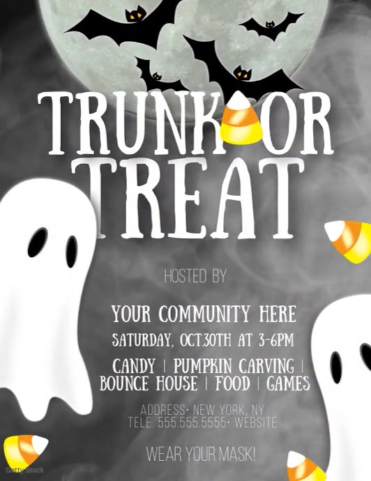 Trunk or Treat Halloween Candy Video Volante (Carta US) template