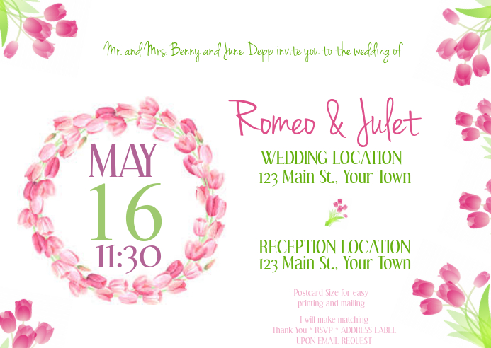 Tulip Post Card Wedding Invitation Template