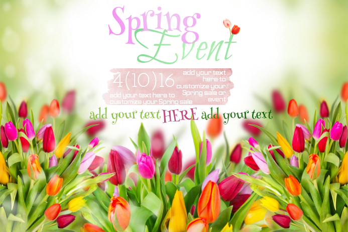 Tulips Greenery Grass Landscape Garden Easter Spring Event Sale Ad Invite Business Flyer Poster