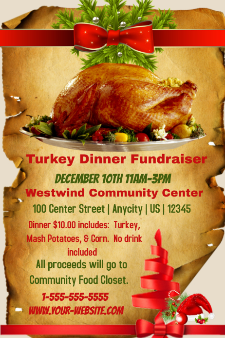 turkey dinner fundraiser template postermywall