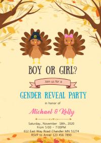 Turkey gender reveal invitation