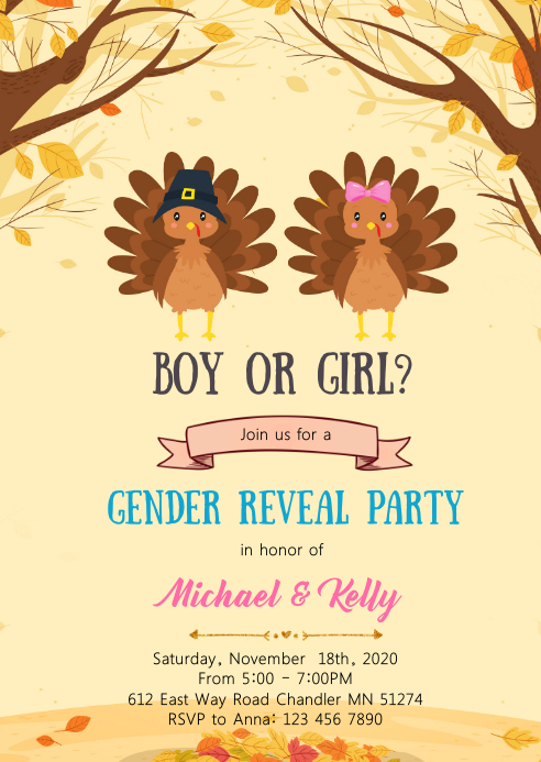 Turkey gender reveal invitation A6 template