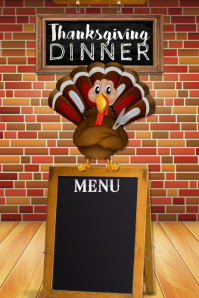 Turkey Menu Retail Restaurant Dinner Buffet Food Harvest Poster template