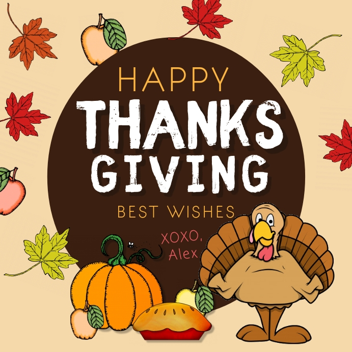 Turkey Themed Happy Thanksgiving Wish Instagr Wpis na Instagrama template