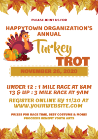 Turkey Trot Flyer, Thanksgiving Fundraiser Fl A4 template