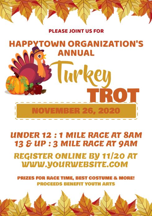 Turkey Trot Flyer, Thanksgiving Fundraiser Fl A4 template