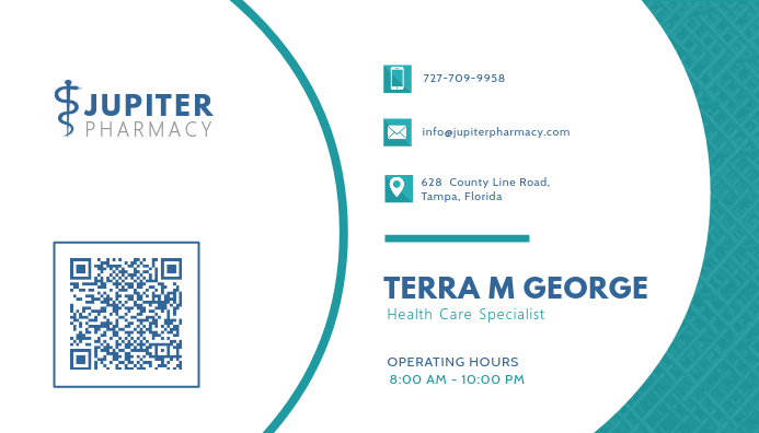 Turquoise Health Business Card Design Visitkort template