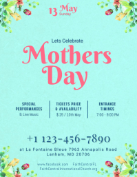 Turquoise Mothers Day Flyer Template