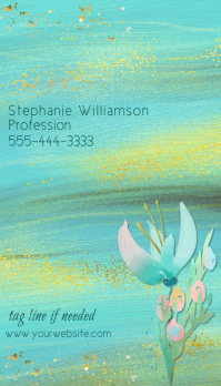 Turquoise Paint Wash Gold Business Card template