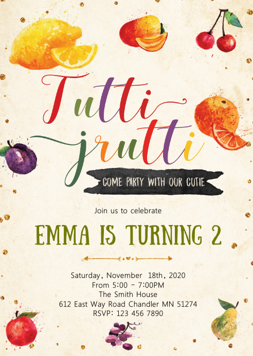Tutti fruiti 2nd birthday invitation