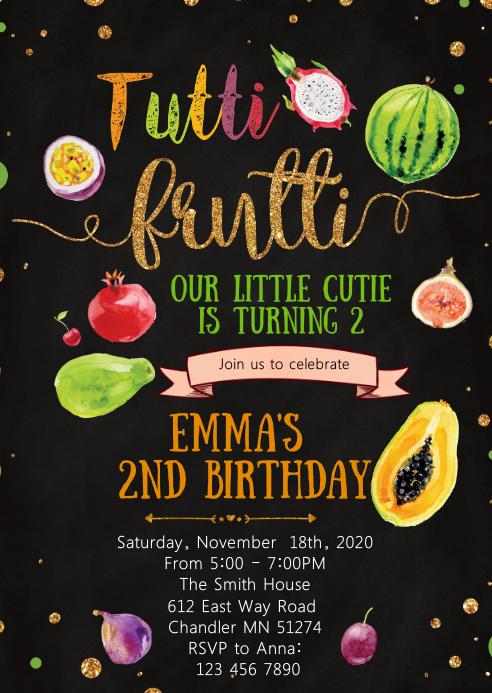 Tutti Frutti Thank You Card TWOtti Frutti Birthday Party Printable Fruit Thanks Note Editable Instant Digital Template Download Corjl #076TY