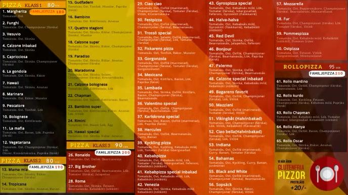 TV restaurant menu Digitale Vertoning (16:9) template