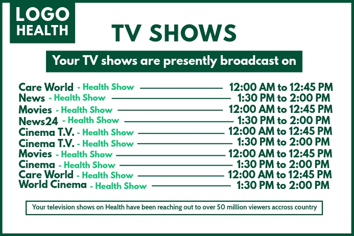 TV Shows BoardCast Schedule Template Banner 4' × 6'