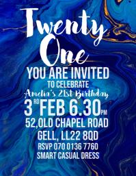 Twenty One birthday invite Pamflet (Letter AS) template