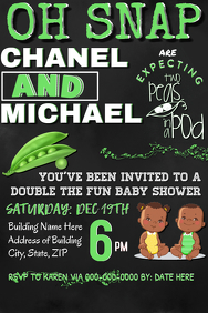 Twin Baby Shower Party Invitation