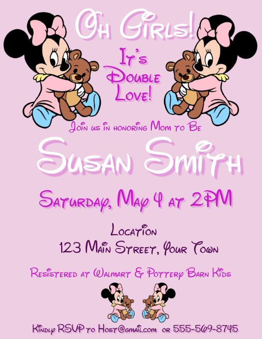 Twin Girl Baby Shower Invitation Template
