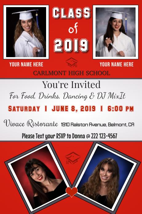 Twin Graduation Invitation