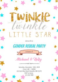 Twinkle gender reveal theme invitation