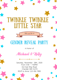 Twinkle little star gender reveal invitation A6 template