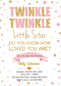 Twinkle Twinkle baby shower party invitation