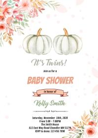 Twins pumpkin shower invitation A6 template