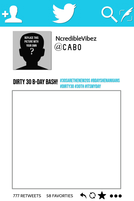 Twitter Template | Twitter Party Prop Frame Template Postermywall