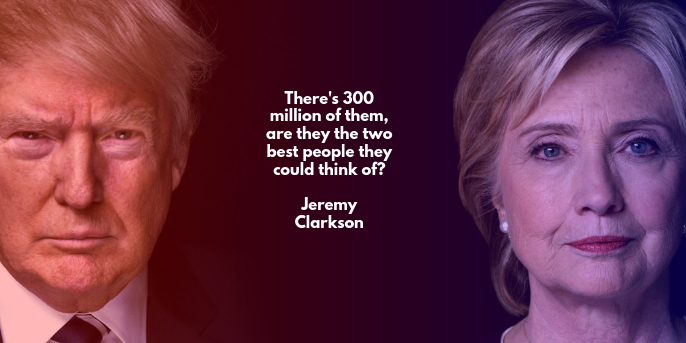 Twitter post: Jeremy Clarkson: Trump vs. Hillary