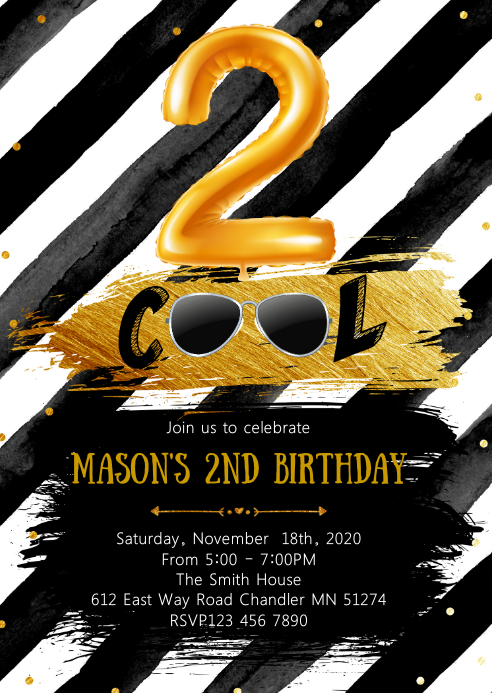 Two cool birthday party invitation A6 template
