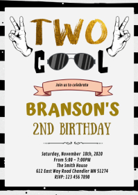 Two cool boy birthday invitation A6 template