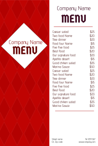 two side red restaurant food menu