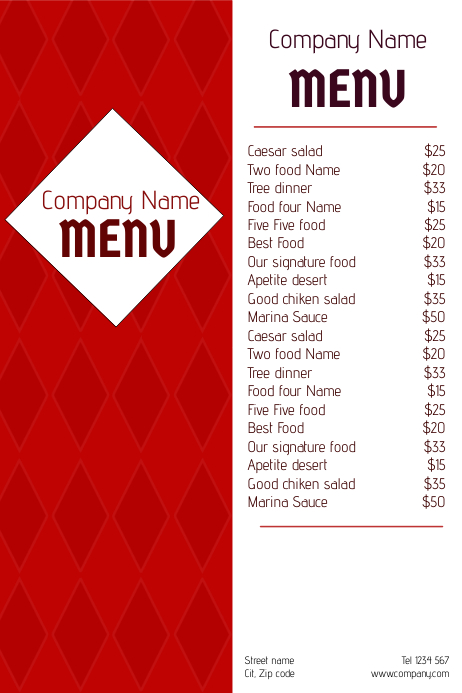 two side red restaurant food menu