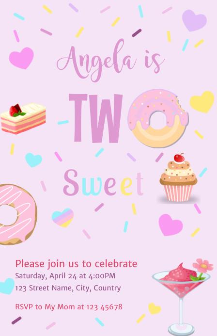 Two Sweet Birthday Invitation Girl Media Página Ancho template