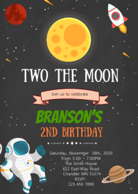 Two The Moon Astronaut theme card A6 template