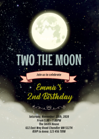 Two the moon party invitation A6 template