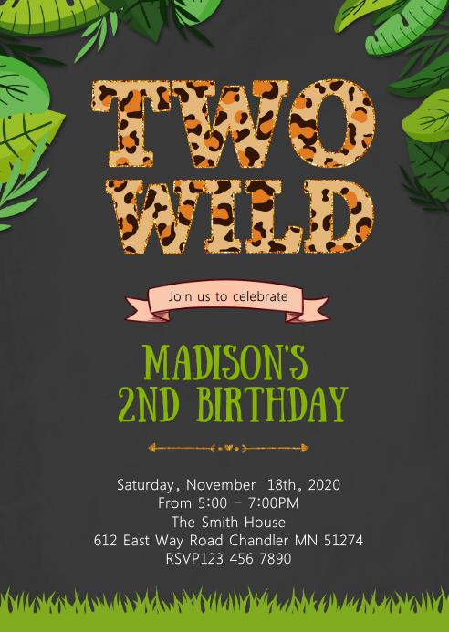 Two wild birthday party invitation