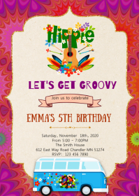 Tye dye 60s party invitation A6 template