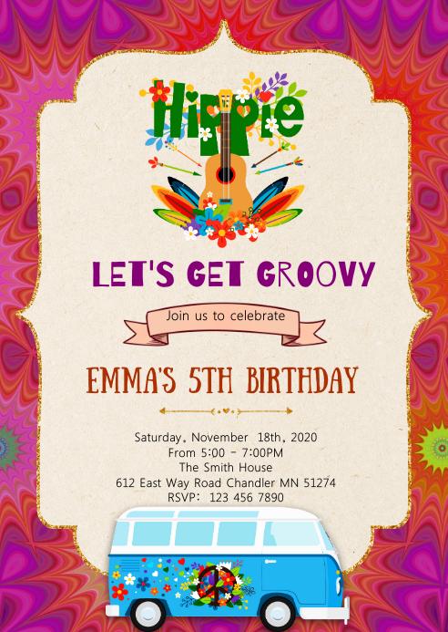 Tye dye 60s party invitation
