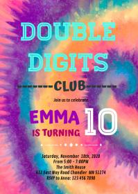 Tye dye Double Digits Birthday Invitation A6 template
