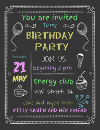 Typographic Birthday Invitation Template