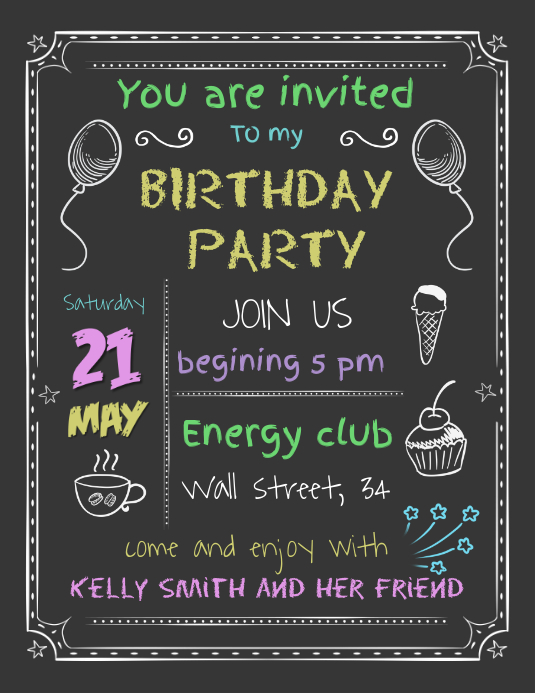 Typographic Birthday Invitation Template Volante (Carta US)