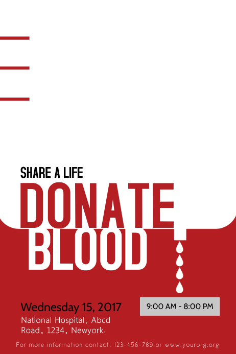 Typographic Blood Donation Poster Template Cartaz