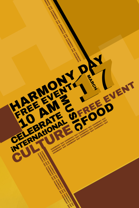 Typographic Harmony Day Event Flyer Template  Postermywall