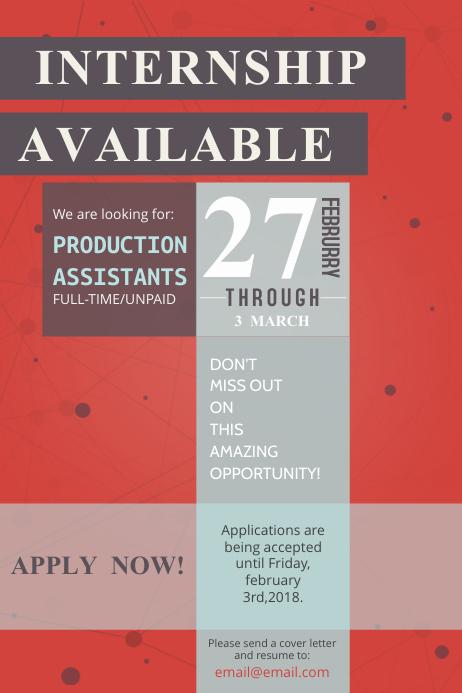 Typographic Internship program Flyer Template Poster