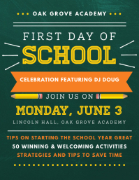 Typography First Day of School Party Flyer Volante (Carta US) template