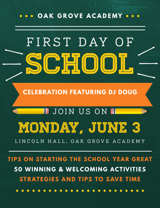 Typography First Day of School Party Flyer