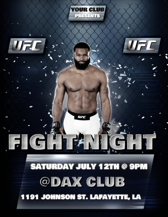 Ufc Fight Night Flyer Template Postermywall